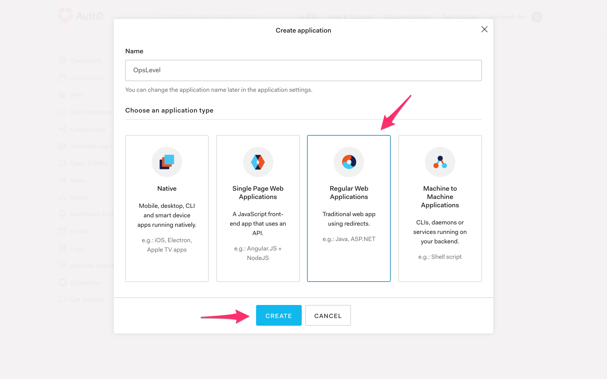Auth0 Create Application Modal with Regular Web Applications Selected.