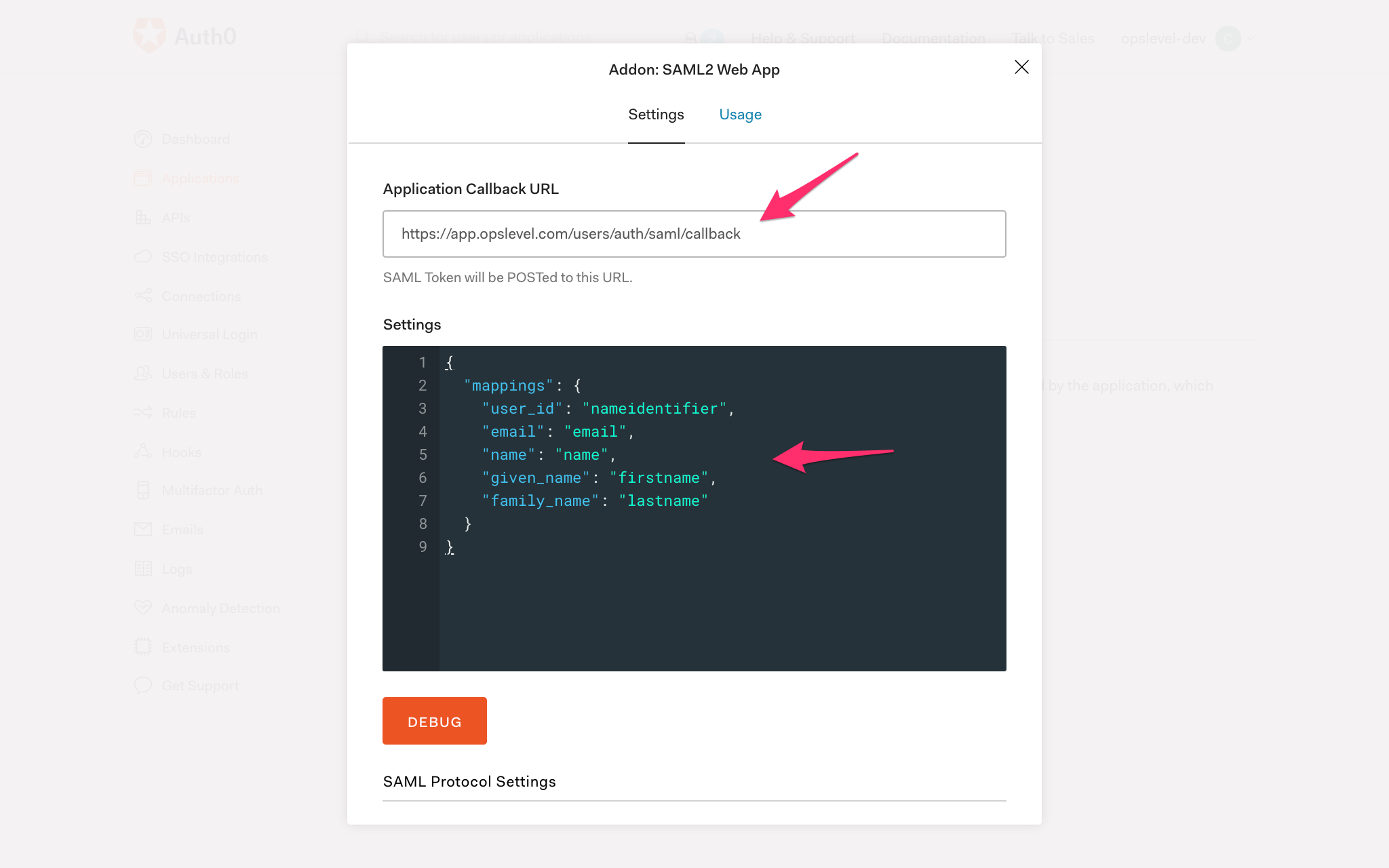 Completed Auth0 SAML2 Settings form
