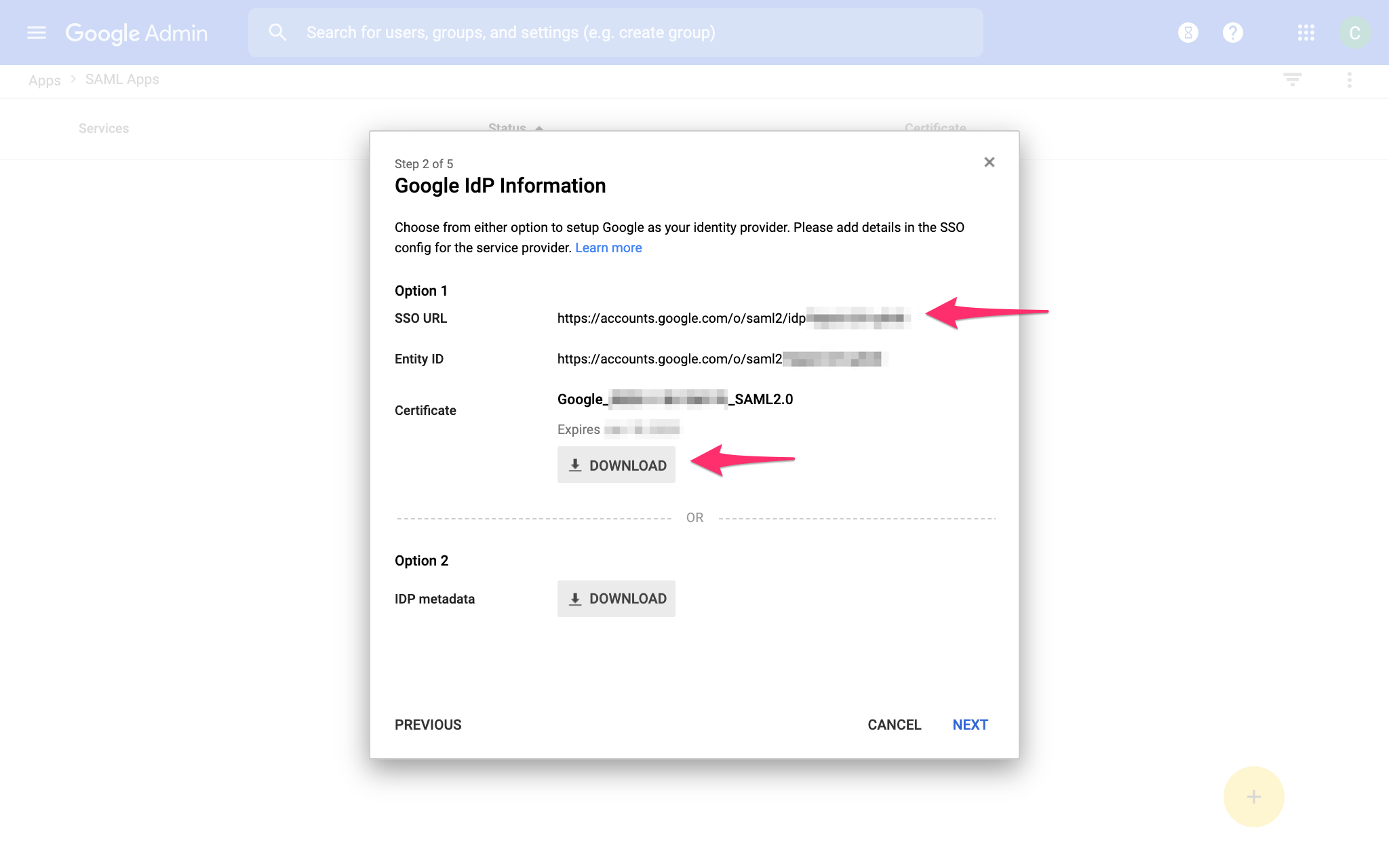G Suite SSO App Information Screen
