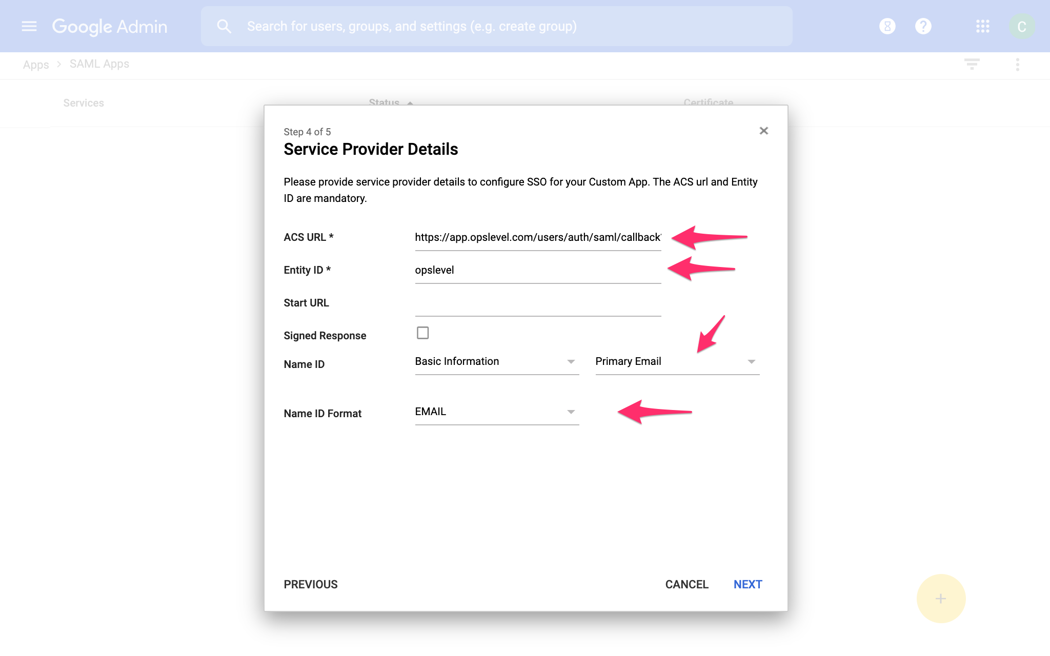 G Suite Configure OpsLevel SAML settings